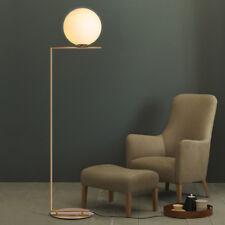European Style White Glass Globe LED Brass Linear Floor Lamp Standing Light Art