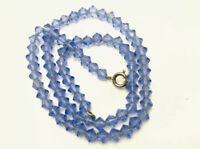 "Vintage Sapphire Blue Faceted Crystal Glass Bead Necklace 16"" Long GIFT BOXED"