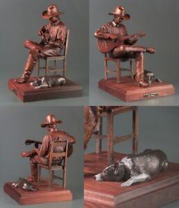 Steve Lillegard Evening in the Bunkhouse Western Cowboy Guitar Bronze Sculpture