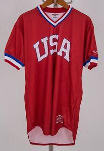 Red USA Rawlings Barstool Baseball Jersey - LARGE 44 - VERY RARE