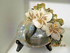 HAWAIIAN Shell WITH PLUMERIA on EASEL  A MARIANNE OF MAUI ORIGINAL