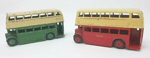 Dinky Double Decker Bus Pair - Red & Green