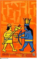 Political OSPAAAL POSTER.Latin America Maya Aztec Indigenous History art.am5
