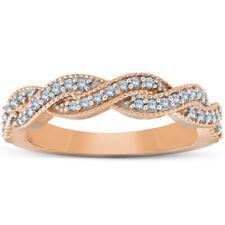 1/8ct Diamante Pave Boda Anillo 14K Oro Rosa