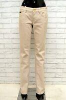 Jeans Donna HUGO BOSS Taglia 28 Pantalone Pants Woman Cotone Beige Gamba Dritta