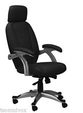 Alphason 'Bentley' BLACK High Back Real Leather-Faced Executive Office Chair