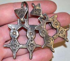 Antique Tuareg Tribal Ethnic Silver Double Agadez Cross Earrings Mali, Africa