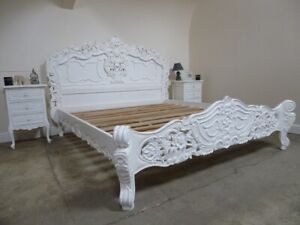 French Rococo Super King Size Bed In White - Shabby Chic Style Super King Bed