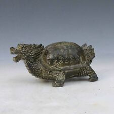 Chinese Antique Bronze Handwork Carved Dragon Turtle statue M0029