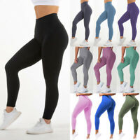 Women High Waist Yoga Pants PUSH UP Leggings Workout Ruched Stretch Fitness Gym