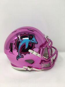 Dolphins custom neon pink CHROME  riddell speed mini helmet