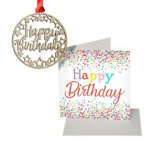 Birthday card, plaque, card and decoration set for ages 16 18 21 30 40 50 60