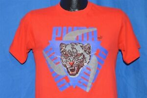 vintage 80s PUMA LOGO RED BLUE RUNNING JOGGING ACTUAL ANIMAL t-shirt SMALL S