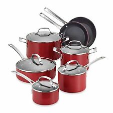 Circulon Genesis Aluminum Nonstick 12-Piece Red Cookware Set Bonus 5pc Tools NIB