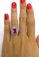 5ct Oval Cut Pink Sapphire Diamond Halo Vintage Women Ring 14k White Gold Finish