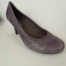 Biviel Purple Leather High Heels Embellished Size 7 M / 39 Distressed Faded Pump