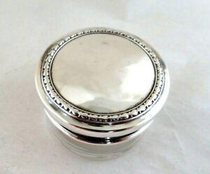 DRESSING TABLE JAR  Solid Silver/Glass   Hallmarked:-BIRMINGHAM 1909