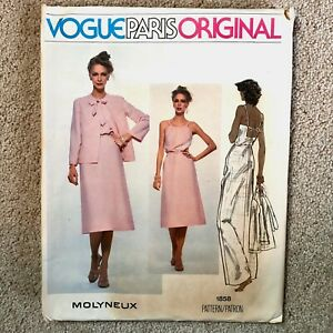 Vintage 1970s MOLYNEAU Vogue Paris Original Sewing Pattern Dress Jacket 10 UNCUT