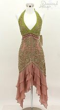 NEW SUE WONG Designer Dress Size 12 SILK Pink Green Formal Halter Sequin TDH