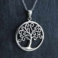 Swirl Tree of Life Pendant Necklace 925 Sterling Silver Family Trees Gift NEW