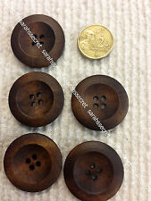 5 x WOODEN BUTTONS with ROUND BROWN COFFEE - 30mm  - #B921