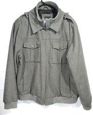 J. Ferrar Mens Wool Field Jacket Size XXL 2XL Gray Winter Coat Lined Warm