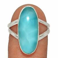 Genuine Larimar - Dominican Republic 925 Silver Ring Jewelry s.7.5 AR187008