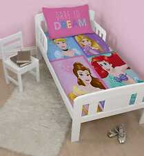 GIRLS DISNEY PRINCESS JUNIOR / TODDLER COT BED SIZE PINK DUVET QUILT COVER SET