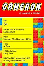 Personalised Lego Themed Birthday Party Invitation - You Print
