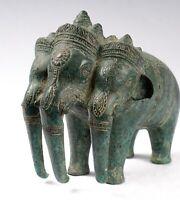 Antico Khmer Stile Bronzo Erawan Airavata O Elefante Statua - 17cm/17.8cm Alto