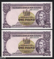 NEW ZEALAND P-159d. 1 Pound (1956-67)  Fleming.  Prefix 258.  aUNC - CONSEC Pair
