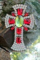 kreuz brosche alt gablonz rote steine um einen peridotgrünen kristall 10 cm 42g