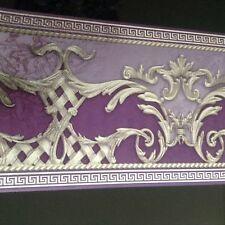 wunderschöne Barock Bordüre Lila.hell.lila.silberVERSAC 5m lang 17,7 cm breit