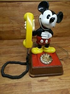 """Vintage Mickey Mouse Phone Rotary Dial Telephone Disney 15"""""""