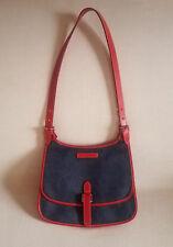 Dooney & Bourke Dark Blue Denim Red Leather Trimmed Sling Shoulder Bag Purse