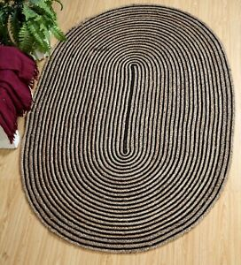 Braided style Indian Natural jute & Cotton Rug Bohemian Oval classic Decor Rugs