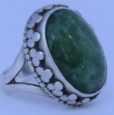 Antique vintage CHINESE export Sterling Silver & dark green JADE ornate ring