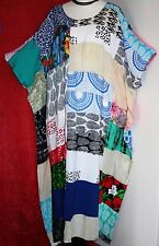 "GORGEOUS Kaftan Dress 66""Bust ONE SIZE Batwing Patchwork Batik Cool Wide HIPPY"