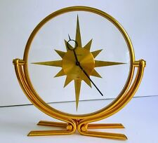 "Rare Jaeger Lecoultre Mid Century Modern Sun ""Sunburst"" 8 Day Table Clock"