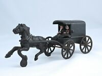 Vintage Toy Cast Iron Metal Amish Family on Horse Drawn Carriage Buggy Wagon