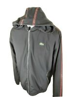 Mens Lacoste Sport Zip Track Jacket Hoodie Taped Black 56 7 2xl Xxl 50 Chest...