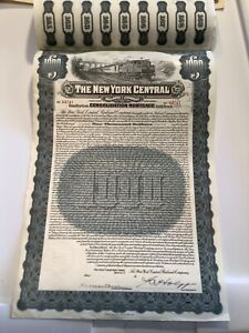1913 New York Central  Railroad Company $10000 Bond W/60 Coupons