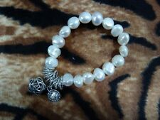 Fresh Water Pearl Bracelet Crystal Charms Stretch Elastic One Size White New