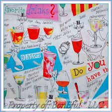 BonEful Fabric Fq Cotton Quilt Kitty Cat Girl Us Kitchen Bar Wine Cocktail Drink