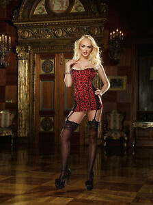 Sexy Red/Black Leopard Print Stretch Satin Corset Dress, Hook-N-Eye Front.