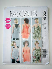 McCalls M6359 Misses Womens Easy Tunics in 3 Styles Sz 6-8-10-12-14 fitted Bust