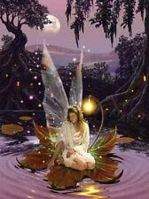 White Matted Moonlight Fairy Foil Art Print~Affordable Fantasy Art~8x10