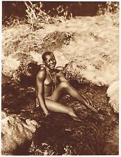 1920's Old Vintage Black African Kenyan Female Nude Model Photo Gravure Print b