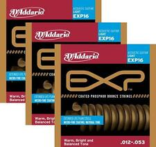3 Sets - D'Addario EXP16 Coated Phosphor Bronze Acoustic Guitar Strings, Light,