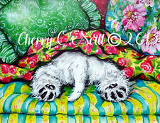West Highland White Terrier Print   Westie English Cottage Style   11x14
